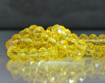 17 pcs 8x6mm Transparent Lemon Yellow Rondelle Faceted Glass Beads  LY