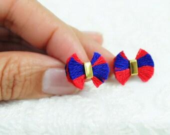 4th July earrings | patriotic jewelry | blue red earrings | Independance day royal blue red stud earrings | unique red tassel earrings