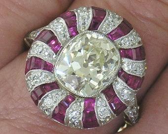 Cushion Diamond Ring~Old Mine Cushion 2.80ct Platinum on Gold Ruby Diamond Ring