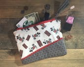 Vintage Mickey Mouse print Fabric Clutch / Purse / Makeup Bag / Zipper Pouch – READY TO SHIP