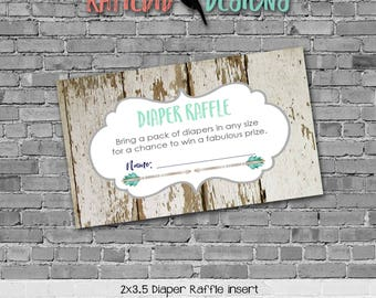 Diaper raffle INSTANT DOWNLOAD item 1238 insert enclosure card tribal arrows deer wood rustic chic baby boy diaper and wipes raffle card