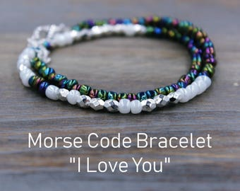 I love you gift etsy i love you morse code bracelet romantic gift for wife love bracelet i negle Image collections