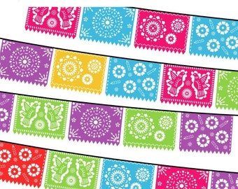 40% OFF SALE Papel Picado Clipart, Digital Fiesta Mexican Banners Clip Art, Cinco de Mayo Clip Art, Printable Papel Picado