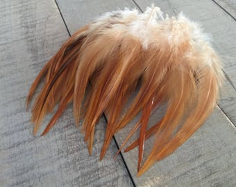 50+ lovely Earth Tone chicken hackle feathers