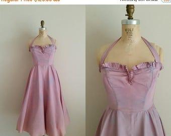 20% OFF SALE Vintage 1950s Purple Prom Dress / Halter / Sharkskin / Small