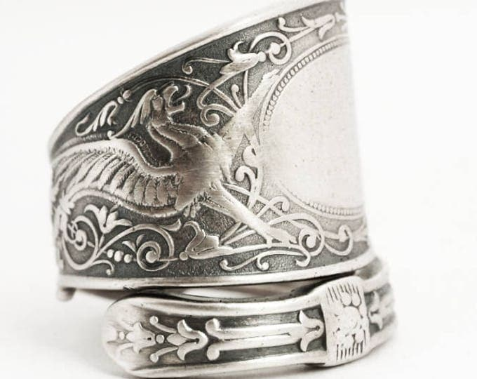 Griffin Ring, Sterling Silver Spoon Ring, Griffon Ring, Silver Dragon Ring, Sterling Dragon Jewelry, ARABESQUE, Adjustable Ring Size (6914)