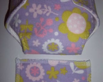 Baby Doll Diaper/wipe - apple green, coralish pink, pink flowers on purple - adjustable for many dolls such as bitty baby