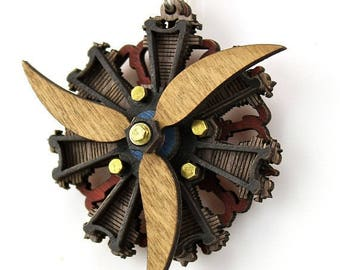 Radial 3 Propeller Engine Pendant - Custom with brown propellers laser engraved in white