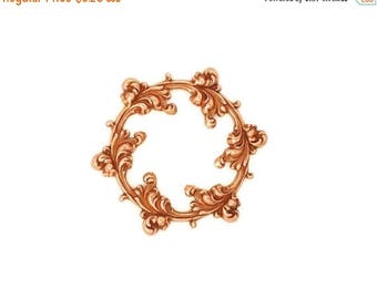 SALE 30% OFF Rose Gold Copper Brass Stamping Floral Leaf Scroll Round Circle Frame Setting Qty 1 Heirloom Quality for Jewelry Making Made in