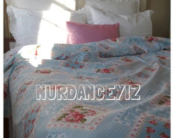 Duvet cover-romantic-shabby chic bedding-girls dorm room-Pink red blue roses floral patchwork print-Twin Queen King oversizedcustom bedding