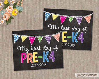 First & Last Day of Pre-K4 Chalkboard Printable Sign - Printable First Day of School Sign - INSTANT DOWNLOAD - 505