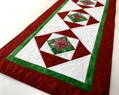 "Quilted Christmas Table Runner, 42"" X 18"", Star Holiday Decor, CIJ, Handmade Homemade, Red and Green, Sally Manke Fiber Art, Table Topper"