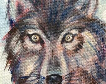 "Wolf  Painting Totem animal woodland animals oil painting original art 7 x 5"""