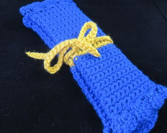 Crochet Blue and Yellow Crochet Hook Case