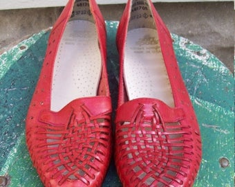 Birthday Sale Vintage Red Leather Soft Sports Shoes Woven Red Leather Flats Size 6 Euro 36-37 UK 4