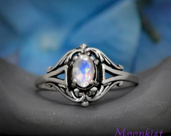 Edwardian Style Filigree Engagement Ring with Rainbow Moonstone in Sterling - Silver Filigree Promise Ring - Rainbow Moonstone Bridal Ring