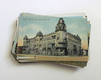 SALE - 64 Vintage Indiana Postcards - DAMAGED - Collage, Mixed Media, Scrapbooking, Paper Craft, Travel Journal Supplies