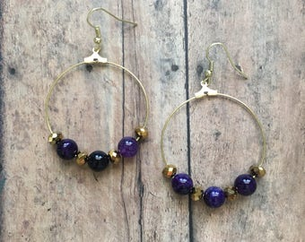 Gorgeous purple and gold beaded dangle earrings