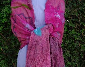nuno felted wrap nuno felted shawl burgundy shawl wool silk scarf fibre art wrap woman's shawl red silk wrap reversible wrap silk wrap felt