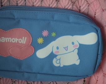 2002-2008  Cinnamoroll Pencil Bag With Outside  Pouch.  Genuine Sanrio. Acrylic Blue Fabric and Pink Vinyl. Kawaii. Japan.