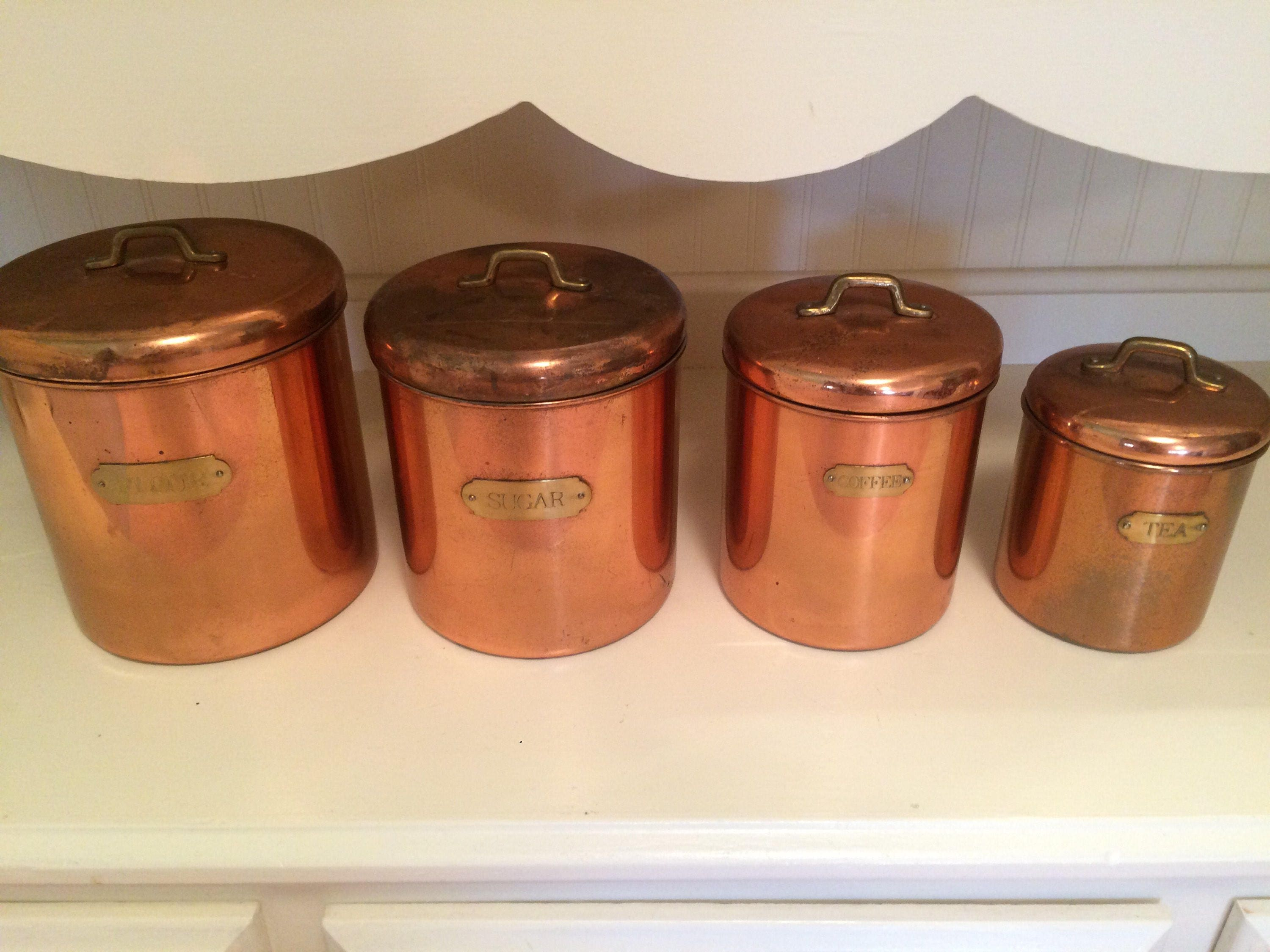 full set copper canisters featuring brass knobs flour sugar