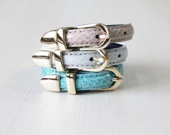 Lizard Pattern Buckle Belt Leather Bracelet(Sky)