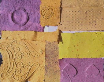 Decorative Paper Craft, Handmade Paper, Yellow Cast Paper, Eco Friendly Paper, Scrapbook Paper, Decoupage Paper, Recycled Papercraft,