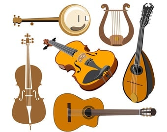 Music Clipart, String Instrument Clipart, Guitar Clipart, Violin Clipart, Harp Clipart, Mandolin Clipart, Cello Clipart, Digital Download
