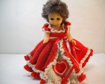 Vintage Doll With Hand Crochet Red Dress FREE SHIPPING