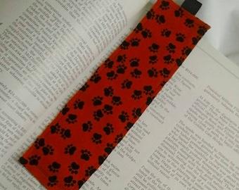Paw Print Bookmark / Fabric Bookmark / Cat Dog / Bookmark