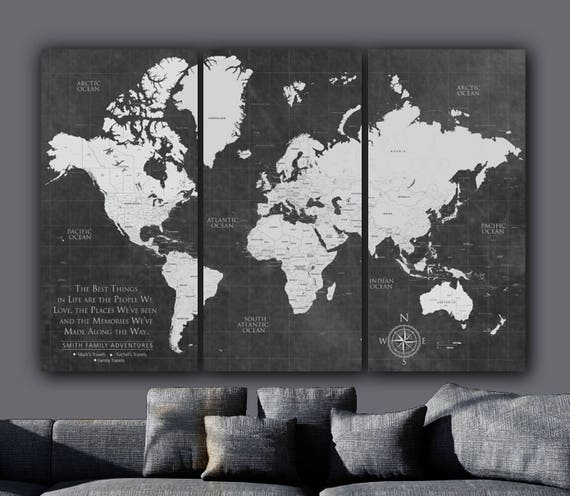 Current push pin world travel map gallery wrapped art world like this item gumiabroncs Image collections
