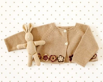 ON SALE Knitted baby little coat in camel with felt flowers. 100% merino wool. READY To Ship in size 1/3 months.