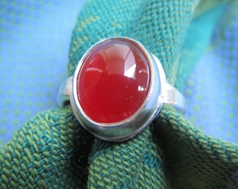 Red Carnelian in Argentium Sterling Ring Size 3 & a Quarter