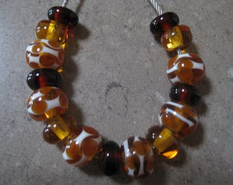 Lampwork Glass Beads. Amber, Topaz and Ivory Waves and Dots Beads. Handmade Glass Beads. Australian Artisan Glass Beads. Kiln Fired Beads.