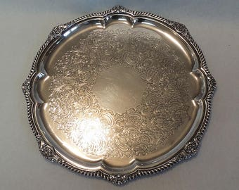 """Vintage Gorham EPNS Silverplate 14 1/4"""" Tray Y 1133.. Round With Scalloped Edge"""
