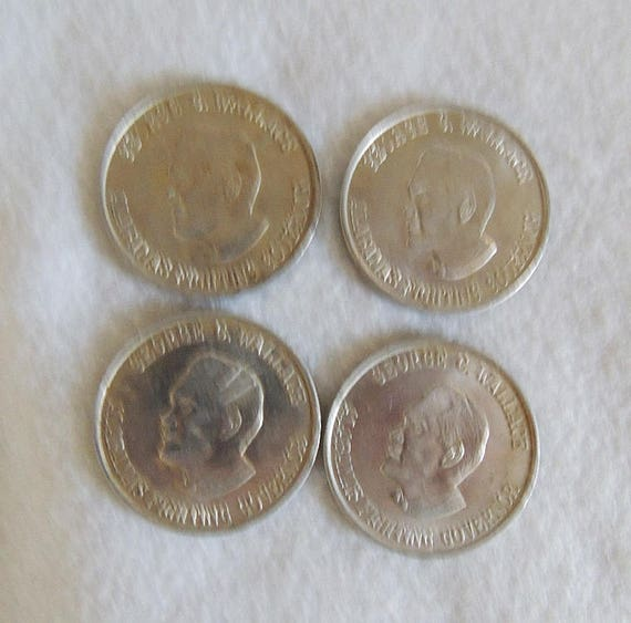"4 Vintage 1.5"" 1960's Governor George Wallace Alabama Political Token / Coin"
