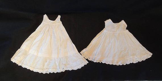 2 Vintage Antique White Cotton Baby / Doll Slip Petticoat Dress.. Tucks & Lace