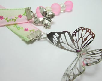 Butterfly Ribbon Bookmark Pink and Green Flower Vine Metal Butterfly Stamping Butterfly Charms Pink Frosted Glass Beads 147B