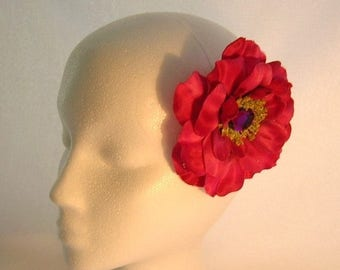 ON SALE 50% OFF, Last One, Full Bloom Rose Hair Clip in Deep Rose/Magenta  With a Sparkly Center