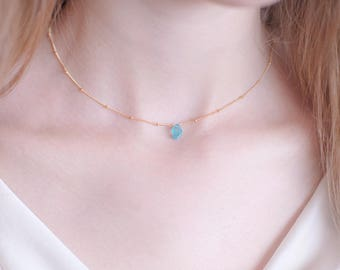 Raw Apatite Crystal Necklace, Blue Rough Stone Necklace, Bridesmaid Gift, Satellite Chain, 14k Gold Filled, Boho Jewelry, Gift for Her