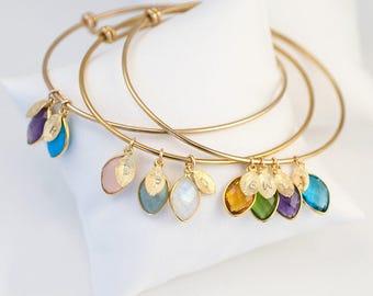 Custom Birthstone Charm Bracelet For Mom, Mothers Bracelet, Custom Bracelet, Family Tree Bracelet, Gift Jewelry, Personalized Bangle, Unique