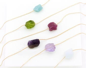 Natural Gemstone Necklace, Healing Crystal Choker, Aquamarine Necklace, Valentines Day Gift, Bridesmaid Gift, Raw Crystal Necklace, Simple