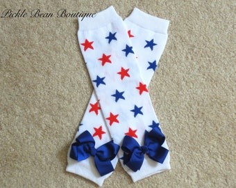 4th of July Star Leg Warmers with Ribbon Bows, Fourth of July Legwarmers, Toddler Kids Leggings, Patriotic Red White Blue Stars
