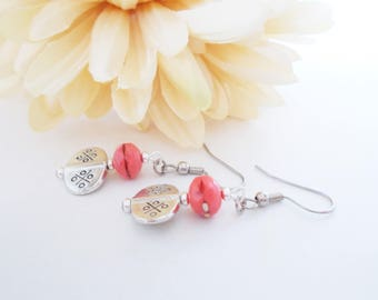 Coral Glass Earrings, Boho Bridal Earrings, Coral Bridesmaid Gift Jewelry, Coral Drop Earrings, Pink Coral Jewelry, Birthday Gift for Her