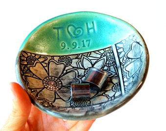 Personalized Ring Dish in Cerulean Green and Black, Handmade Pottery, by RiverStone Pottery