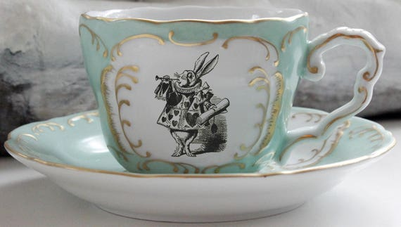 Alice in Wonderland Green & Gold Teacup / Saucer Set, Pick Your Character, Lewis Caroll Teacup, Alice Tea Party, Wonderland Mug Cup