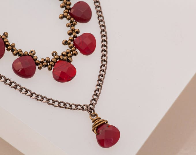 Featured listing image: Red Victorian Necklace, Ruby Romantic Teardrop Layered Necklace Set, Blood Red, Bronze Gothic Renaissance, Ren Faire Wedding, Borgois Bridal