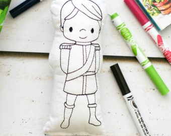 Prince Doodle Doll - Craft for Kids - Fairy Tail Activity - Kids Art Activity - Doodle Pillow - Doodle Doll - Color Your Own Doll