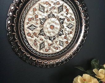 "Huge 15"" Black Enameled Copper Plate/Tray - with intricate etched designs - marked Gulistan"