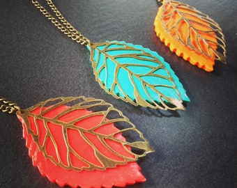 Necklaces leaves autumn coral, orange or green water